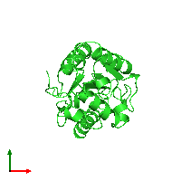 PDB 1cuf coloured by chain and viewed from the top.