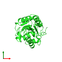 PDB 1cuz coloured by chain and viewed from the top.