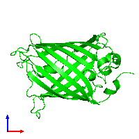 Monomeric assembly 1 of PDB entry 1cv7 coloured by chemically distinct molecules and viewed from the front.