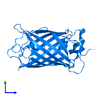 PDB 1cv7 contains 1 copy of Green fluorescent protein in assembly 1. This protein is highlighted and viewed from the side.