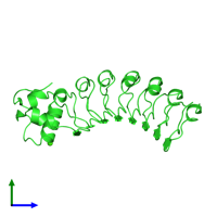 PDB 1d0b coloured by chain and viewed from the side.
