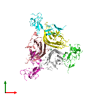 PDB 1d0g coloured by chain and viewed from the top.