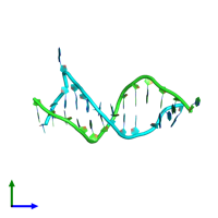 PDB 1d31 coloured by chain and viewed from the side.