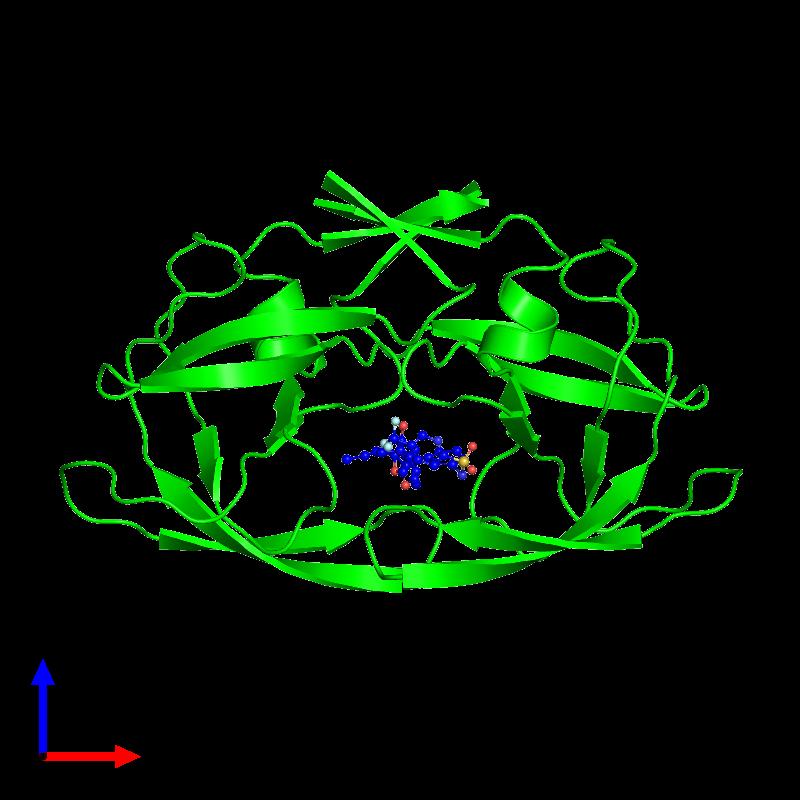 <div class='caption-body'><ul class ='image_legend_ul'>The deposited structure of PDB entry 1d4y coloured by chemically distinct molecules and viewed from the front. The entry contains: <li class ='image_legend_li'>2 copies of PROTEIN (HIV-1 PROTEASE)</li><li class ='image_legend_li'>There is 1 non-polymeric molecule<ul class ='image_legend_ul'><li class ='image_legend_li'>1 copy of N-(3-{(1R)-1-[(6R)-4-HYDROXY-2-OXO-6-PHENETHYL-6-PROPYL-5,6-DIHYDRO-2H-PYRAN-3-YL]PROPYL}PHENYL)-5-(TRIFLUOROMETHYL)-2-PYRIDINESULFONAMIDE</li></ul></li></div>