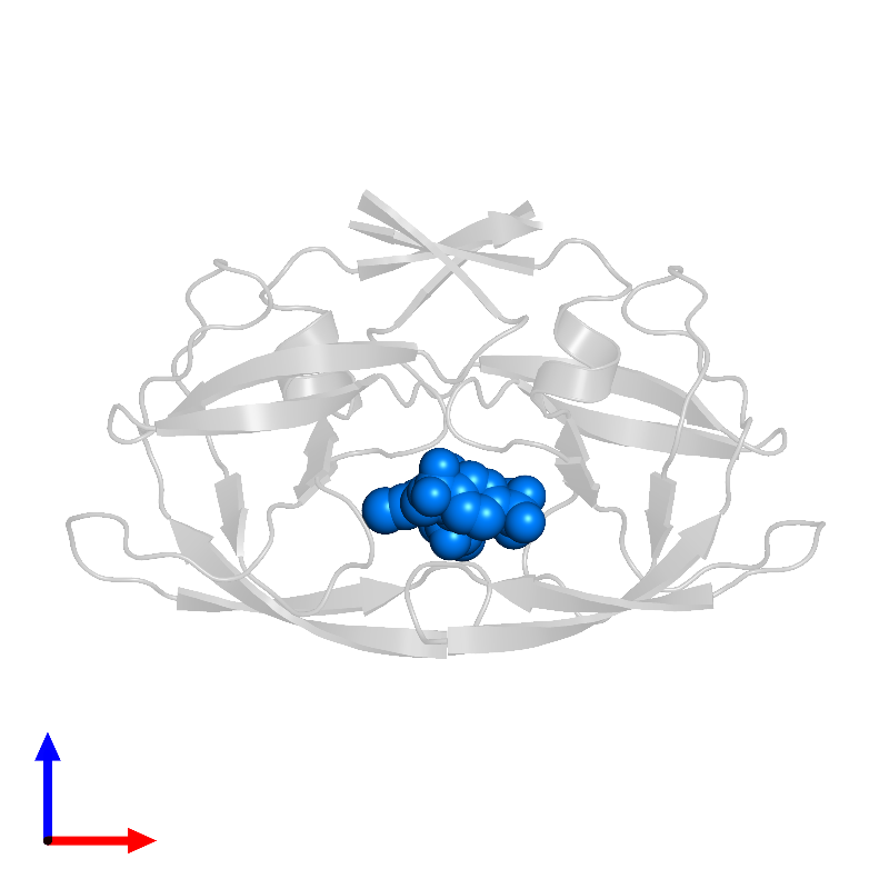 <div class='caption-body'>PDB entry 1d4y contains 1 copy of N-(3-{(1R)-1-[(6R)-4-HYDROXY-2-OXO-6-PHENETHYL-6-PROPYL-5,6-DIHYDRO-2H-PYRAN-3-YL]PROPYL}PHENYL)-5-(TRIFLUOROMETHYL)-2-PYRIDINESULFONAMIDE in assembly 1. This small molecule is highlighted and viewed from the front.</div>