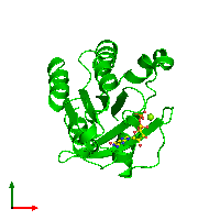 Monomeric assembly 1 of PDB entry 1d5c coloured by chemically distinct molecules and viewed from the top.