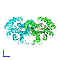 PDB 1d8a coloured by chain and viewed from the side.