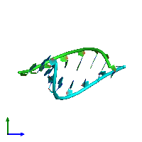 PDB 1d90 coloured by chain and viewed from the side.