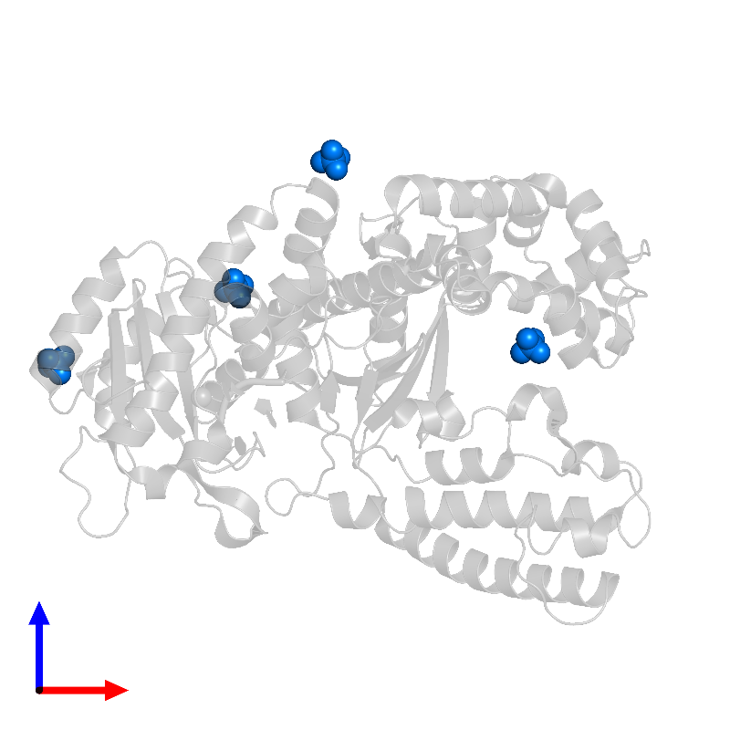 <div class='caption-body'>PDB entry 1d9f contains 4 copies of SULFATE ION in assembly 1. This small molecule is highlighted and viewed from the front.</div>