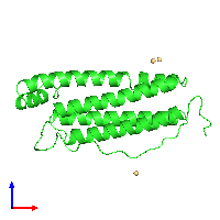 PDB 1dat coloured by chain and viewed from the front.