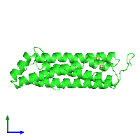 PDB 1dat coloured by chain and viewed from the side.