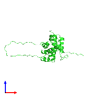 PDB 1ddb coloured by chain and viewed from the front.
