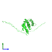 PDB 1ddb coloured by chain and viewed from the side.