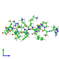 PDB 1dep coloured by chain and viewed from the side.