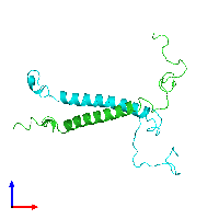 PDB 1dip coloured by chain and viewed from the front.
