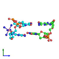 PDB 1dn8 coloured by chain and viewed from the side.