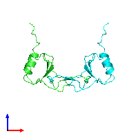 PDB 1dom coloured by chain and viewed from the front.