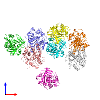 PDB 1dt5 coloured by chain and viewed from the front.
