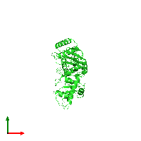 PDB 1dt9 coloured by chain and viewed from the top.