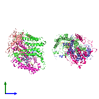PDB 1dv3 coloured by chain and viewed from the side.