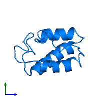 PDB 1dv5 contains 1 copy of D-alanyl carrier protein in assembly 1. This protein is highlighted and viewed from the side.