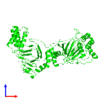 Dimeric assembly 1 of PDB entry 1e5r coloured by chemically distinct molecules and viewed from the front.