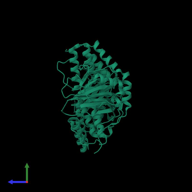 <div class='caption-body'><ul class ='image_legend_ul'>The deposited structure of PDB entry 1e5r coloured by chemically distinct molecules and viewed from the side. The entry contains: <li class ='image_legend_li'>2 copies of PROLINE OXIDASE</li><li class ='image_legend_li'>There are no non-polymeric molecules</li></ul></li></ul></li></div>