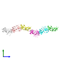 PDB 1e69 coloured by chain and viewed from the side.