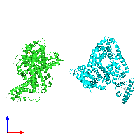 PDB 1e7a coloured by chain and viewed from the front.