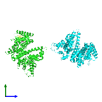 PDB 1e7a coloured by chain and viewed from the side.