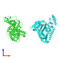PDB 1e7b coloured by chain and viewed from the front.