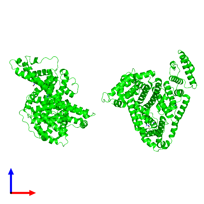 <div class='caption-body'><ul class ='image_legend_ul'>The deposited structure of PDB entry 1e7b coloured by chemically distinct molecules and viewed from the front. The entry contains: <li class ='image_legend_li'>2 copies of Albumin</li><li class ='image_legend_li'>There is 1 non-polymeric molecule<ul class ='image_legend_ul'><li class ='image_legend_li'>6 copies of 2-BROMO-2-CHLORO-1,1,1-TRIFLUOROETHANE</li></ul></li></div>