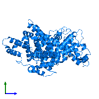 PDB 1e7b contains 1 copy of Albumin in assembly 1. This protein is highlighted and viewed from the side.