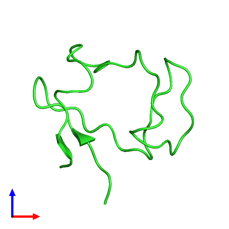 <div class='caption-body'><ul class ='image_legend_ul'>The deposited structure of PDB entry 1e8j coloured by chain and viewed from the front. The entry contains: <li class ='image_legend_li'>1 copy of Rubredoxin</li><li class ='image_legend_li'>There are no non-polymeric molecules</li></ul></li></ul></li></div>