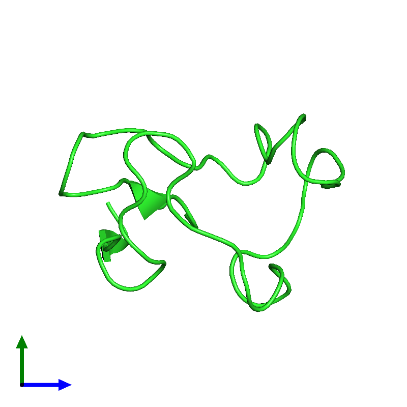 <div class='caption-body'><ul class ='image_legend_ul'>The deposited structure of PDB entry 1e8j coloured by chain and viewed from the side. The entry contains: <li class ='image_legend_li'>1 copy of Rubredoxin</li><li class ='image_legend_li'>There are no non-polymeric molecules</li></ul></li></ul></li></div>