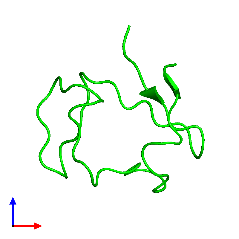 <div class='caption-body'><ul class ='image_legend_ul'>The deposited structure of PDB entry 1e8j coloured by chemically distinct molecules and viewed from the front. The entry contains: <li class ='image_legend_li'>1 copy of Rubredoxin</li><li class ='image_legend_li'>There are no non-polymeric molecules</li></ul></li></ul></li></div>