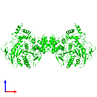 Dimeric assembly 1 of PDB entry 1eea coloured by chemically distinct molecules and viewed from the front.