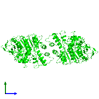 Dimeric assembly 1 of PDB entry 1eea coloured by chemically distinct molecules and viewed from the side.