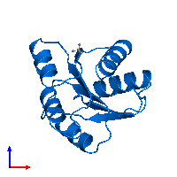 PDB 1ehc contains 1 copy of Chemotaxis protein CheY in assembly 1. This protein is highlighted and viewed from the front.