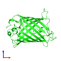 PDB 1emb coloured by chain and viewed from the front.