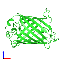 PDB 1emg coloured by chain and viewed from the front.
