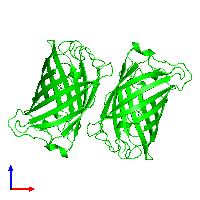Dimeric assembly 1 of PDB entry 1emk coloured by chemically distinct molecules and viewed from the front.