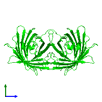 Dimeric assembly 1 of PDB entry 1emk coloured by chemically distinct molecules and viewed from the side.