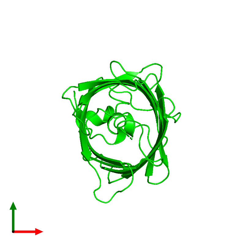 <div class='caption-body'><ul class ='image_legend_ul'>The deposited structure of PDB entry 1emk coloured by chemically distinct molecules and viewed from the top. The entry contains: <li class ='image_legend_li'>1 copy of Green fluorescent protein</li><li class ='image_legend_li'>There are no non-polymeric molecules</li></ul></li></ul></li></div>