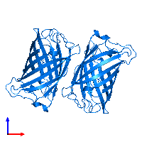 PDB 1emk contains 2 copies of Green fluorescent protein in assembly 1. This protein is highlighted and viewed from the front.