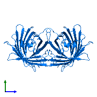 PDB 1emk contains 2 copies of Green fluorescent protein in assembly 1. This protein is highlighted and viewed from the side.