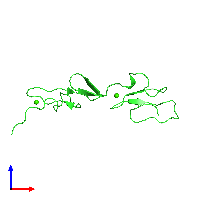 PDB 1emo coloured by chain and viewed from the front.