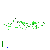 PDB 1emo coloured by chain and viewed from the side.