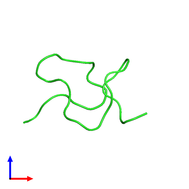 <div class='caption-body'><ul class ='image_legend_ul'>The deposited structure of PDB entry 1emx coloured by chain and viewed from the front. The entry contains: <li class ='image_legend_li'>1 copy of Kappa-sparatoxin-Hv1b</li><li class ='image_legend_li'>There are no non-polymeric molecules</li></ul></li></ul></li></div>