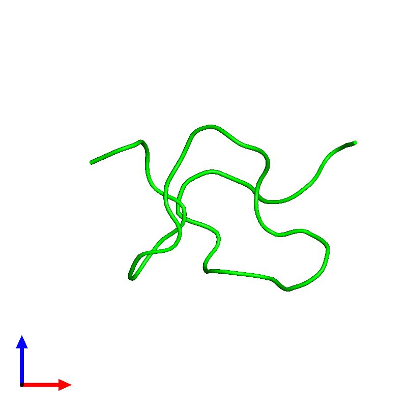 <div class='caption-body'><ul class ='image_legend_ul'>The deposited structure of PDB entry 1emx coloured by chemically distinct molecules and viewed from the front. The entry contains: <li class ='image_legend_li'>1 copy of Kappa-sparatoxin-Hv1b</li><li class ='image_legend_li'>There are no non-polymeric molecules</li></ul></li></ul></li></div>